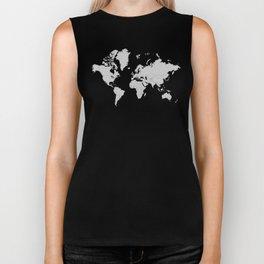 Minimalist World Map Gray on Black Background Biker Tank