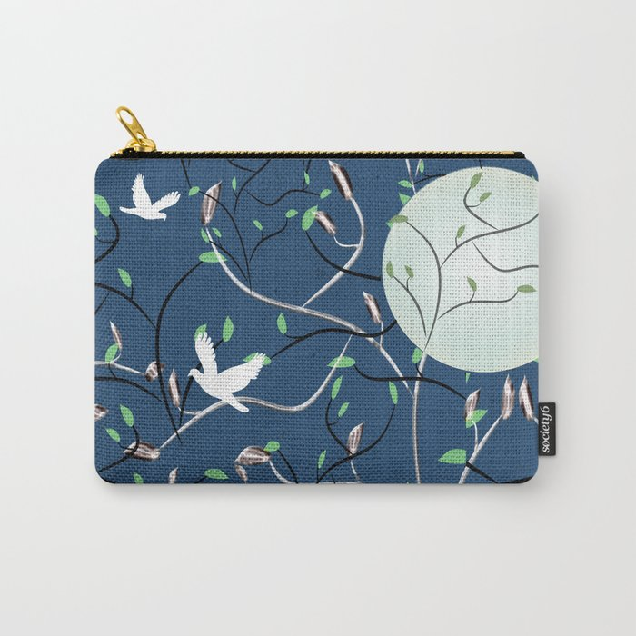 Art Nouveau Moon with Doves (Blue and Silver) Carry-All Pouch