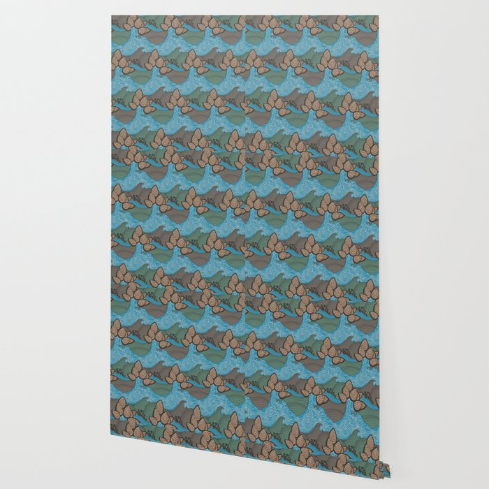 Pine Cones Pattern Wallpaper By Kostart