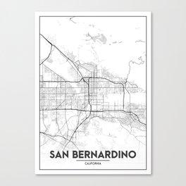 Minimal City Maps - Map Of San Bernardino, California, United States Canvas Print
