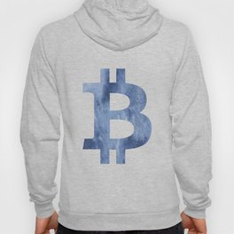 Bitcoin Blue clouds watercolor pattern Hoody
