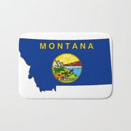 Montana Map with Montana State Flag Bath Mat