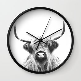 Black and White Highland Cow Portrait Wall Clock