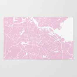 Amsterdam Pink on White Street Map Rug