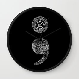 Patterned Semicolon: White on Black Wall Clock