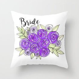Bride Wedding Bridal Purple Violet Lavender Roses Watercolor Throw Pillow
