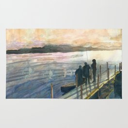Leaving to Fish in the Morning Mist Rug