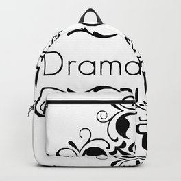 Drama Queen funny black & white vintage ornate framed words Backpack