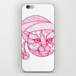 Cat Wearing Santa Hat Mandala iPhone Skin