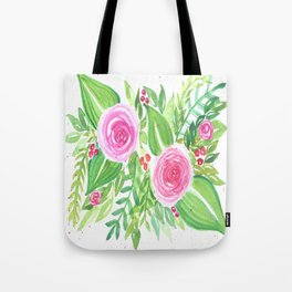 Spring Floral Pink Roses Green Leaves Watercolor Tote Bag