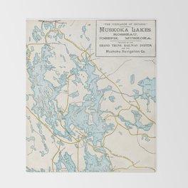 Vintage Muskoka Lakes Map Throw Blanket