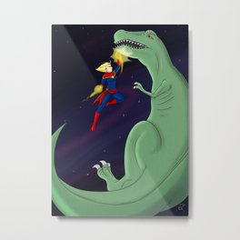Carol Punches a Dino in Space Metal Print