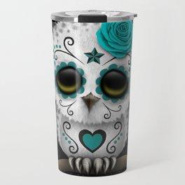 Adorable Teal Blue Day of the Dead Sugar Skull Owl Travel Mug