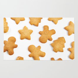 Cookies in shape of Christmas tree, man and star Rug