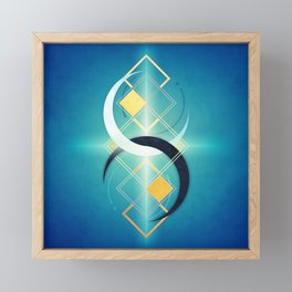Crescent Moon Double :: Floating Geometry Framed Mini Art Print