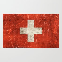 Vintage Aged and Scratched Swiss Flag Rug