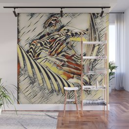 1177s-AK Erotica in the Style of Kandinsky Fingers on Pubis Striped Nude Wall Mural