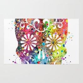 Sugar Skull Watercolor Print Wall Poster Home Decor Rug