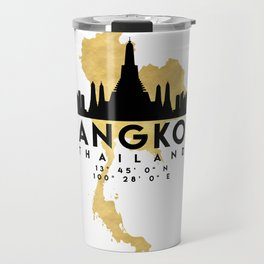 BANGKOK THAILAND SILHOUETTE SKYLINE MAP ART Travel Mug