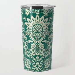 Damask vintage in green Travel Mug