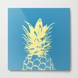 Unique Yellow Pineapple Design Metal Print