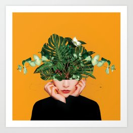 Lady Flowers    Art Print