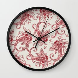 Paisley: Vintage RED  Wall Clock
