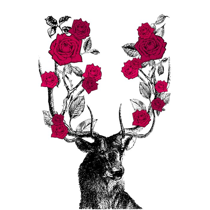 The Stag and Roses | Red Duvet Cover