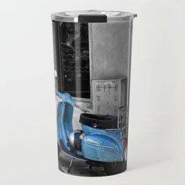Blue Vespa in Venice Black and White Color Splash Photography Travel Mug