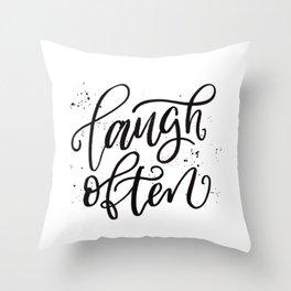 Laugh Often Throw Pillow