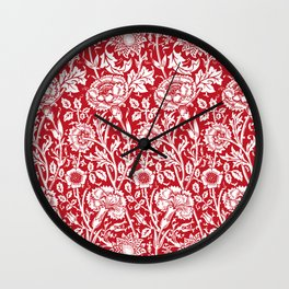 "William Morris Floral Pattern | ""Pink and Rose"" in Red and White Wall Clock"