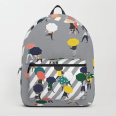 Crossing The Street on a Rainy Day - Grey Backpacks