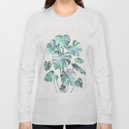 Delicate Monstera Blue And Green #society6 Long Sleeve T-shirt