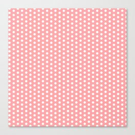 White polka dots in pink background Canvas Print