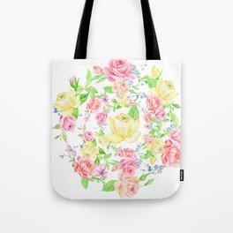 Bouquet of PINK, RED & YELLOW rose - wreath Tote Bag