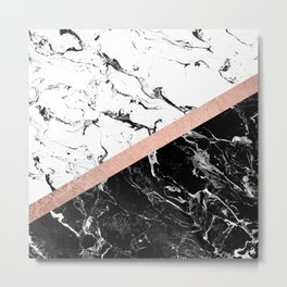 Modern black white marble color block rose gold Metal Print