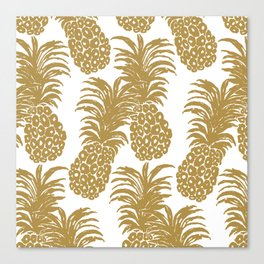 Gold Pineapples Canvas Print