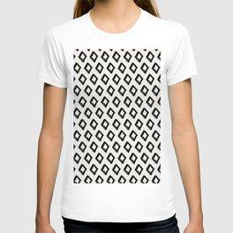 Modern Diamond Pattern 2 Black on Light Gray T-shirt