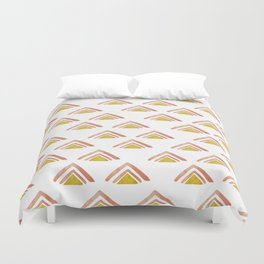 Pink and Yellow Boho Triangles Duvet Cover