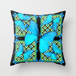 Ornate Black & Blue Azure Nouveau Butterfly Designs Throw Pillow