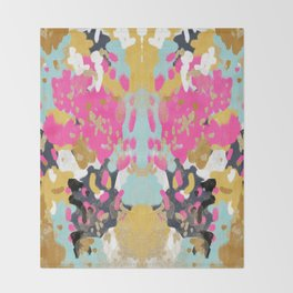 Laurel - Abstract painting in a free style with bold colors gold, navy, pink, blush, white, turquois Throw Blanket