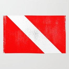 Diver Down Distressed Halftone Denim Flag Rug