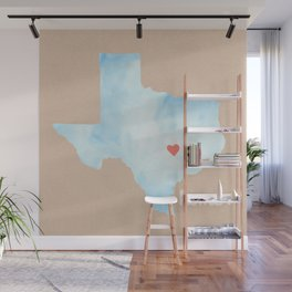 Texas Watercolor Print Wall Mural