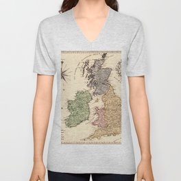 Map Of Great Britain 1795 Unisex V-Neck