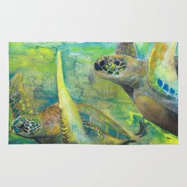 "Giant Sea Turtle Watercolor Fine Art Print Reproduction Painting ""The Lovers"" Rug"