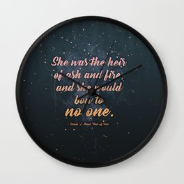 Heir of Ash and Fire (Throne of Glass) Wall Clock