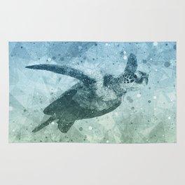 Geometric Flying Green Sea Turtle Rug