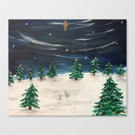 Christmas Snowy Winter Landscape Canvas Print