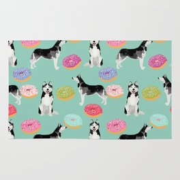 Husky donuts cute dog portrait pet friendly dog art husky puppies must have gifts for dog lover Rug
