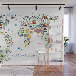 Animal Map of the World for children and kids Wall Mural